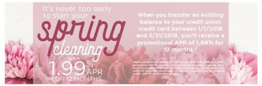 Start your Spring Cleaning with 1.99% APR for 12 Months!